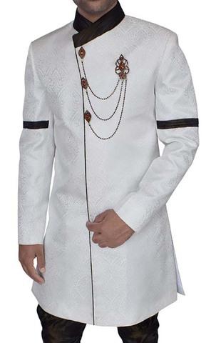 Mens Cream Brocade 3 Pc Indo Western Sherwani Designer