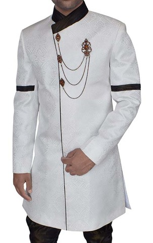 Mens Cream Brocade 3 Pc Indo Western Sherwani Designer