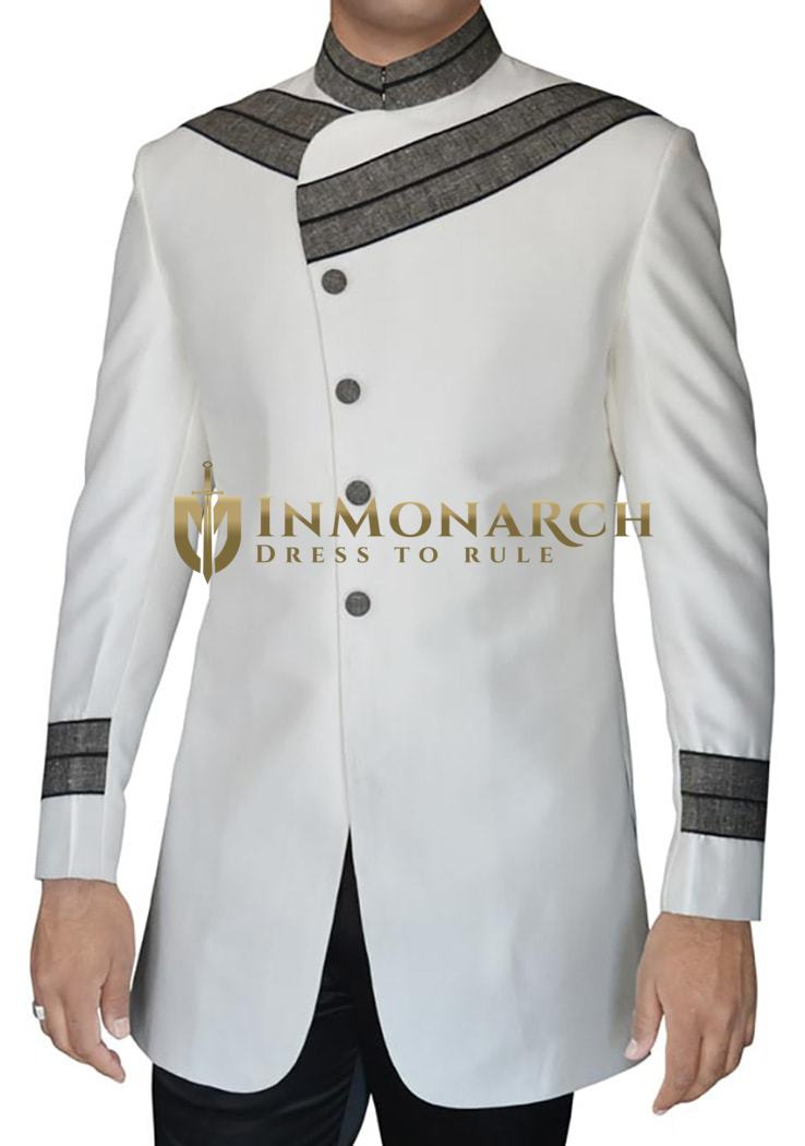 Mens Cream 2 Pc Designer Indo Western for Reception