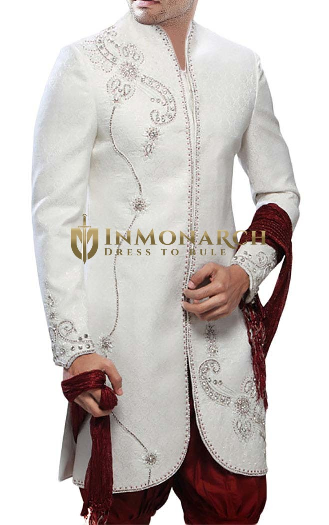 Mens Cream Wedding 3 Pc Indo Western Embroidered