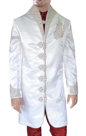 Mens Sherwani Kurta Cream Indo Western Sherwani High Neck Collar