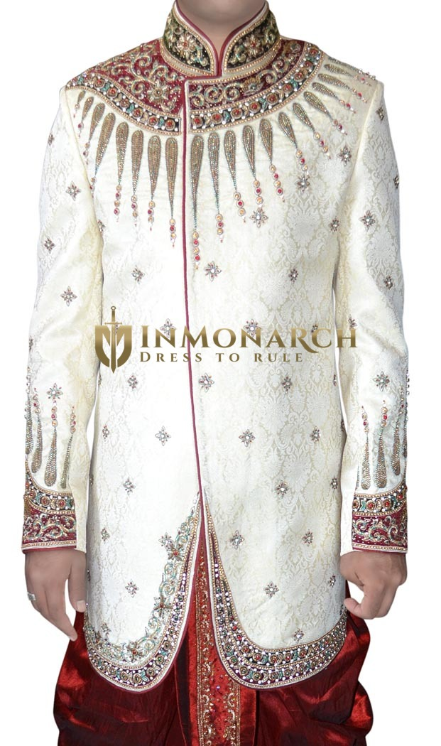 Mens Cream 2 Pc Indo Western Ethnic Designer