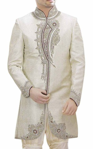 Mens Ivory Brocade 2 Pc Indo Western Embroidered
