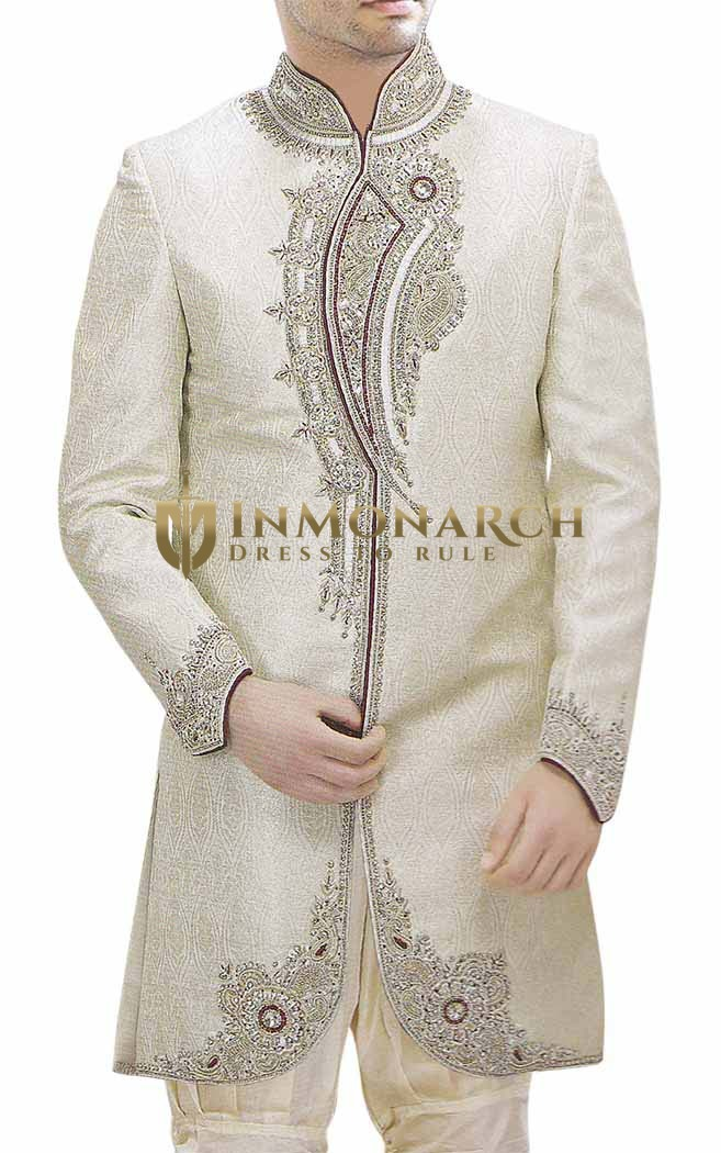 Sherwani for Men Ivory Indian Wedding Clothes Indo Western Embroidered