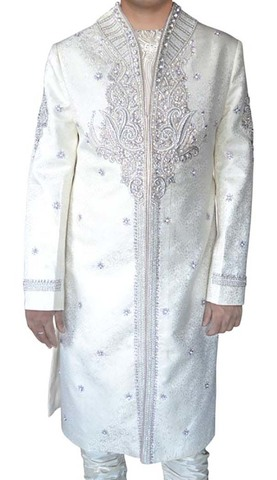 Mens Cream Embroidered 3 Pc Indo Western High Neck