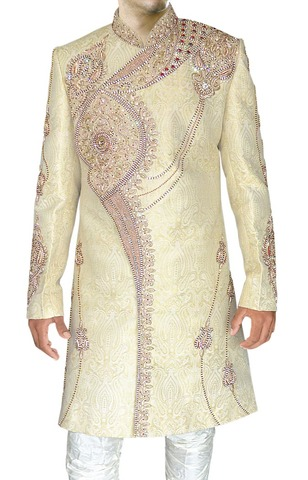 Mens Ivory 2 Pc Indo Western Heavy Embroidered