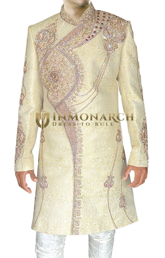 Indian Sherwani for Men Ivory Indo Western Sherwani Heavy Embroidered