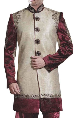 Mens Beige Brocade 2 Pc Indo Western Suit