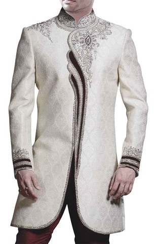 Mens Cream Sherwani Wedding Indo Western Maroon