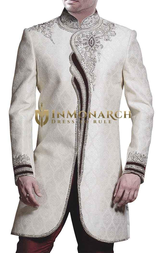 Mens Cream Brocade 2 Pc Indo Western Maroon Trimmed