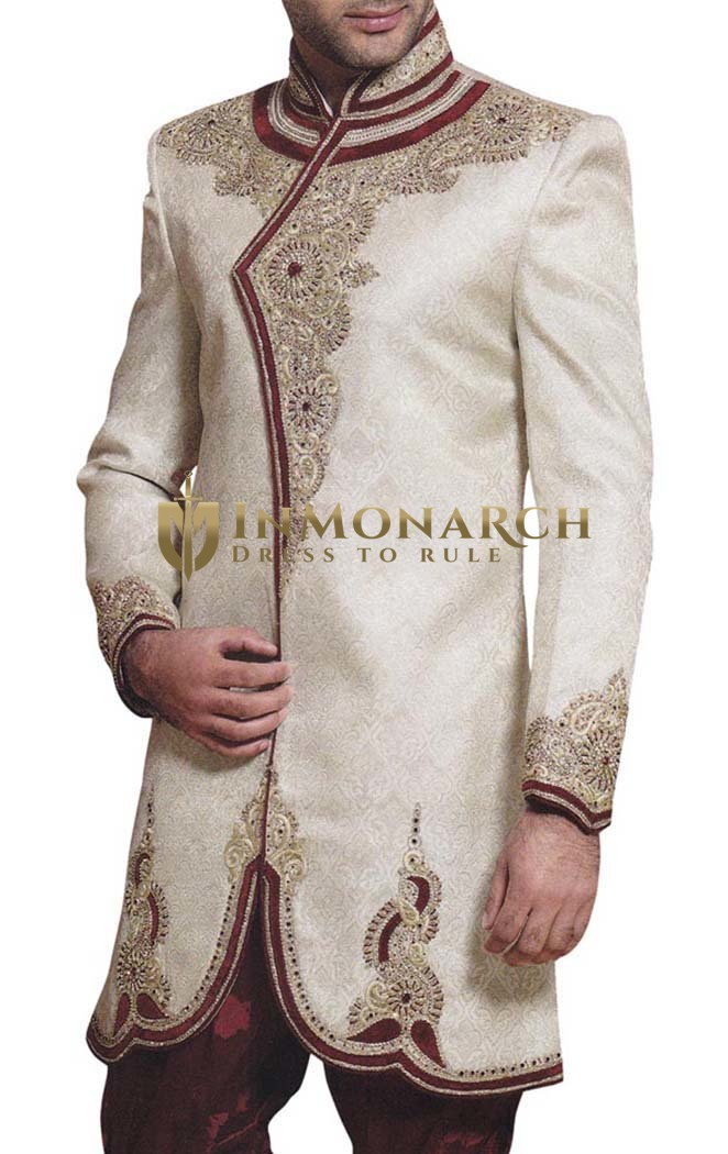 Mens Cream 2 Pc Indo Western Royal Embroidered