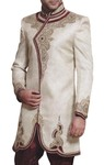 Mens Sherwani Cream Indo Western Royal Embroidered Wedding Sherwani