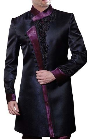 Mens Black 2 Pc Indo Western Stylish Pattern