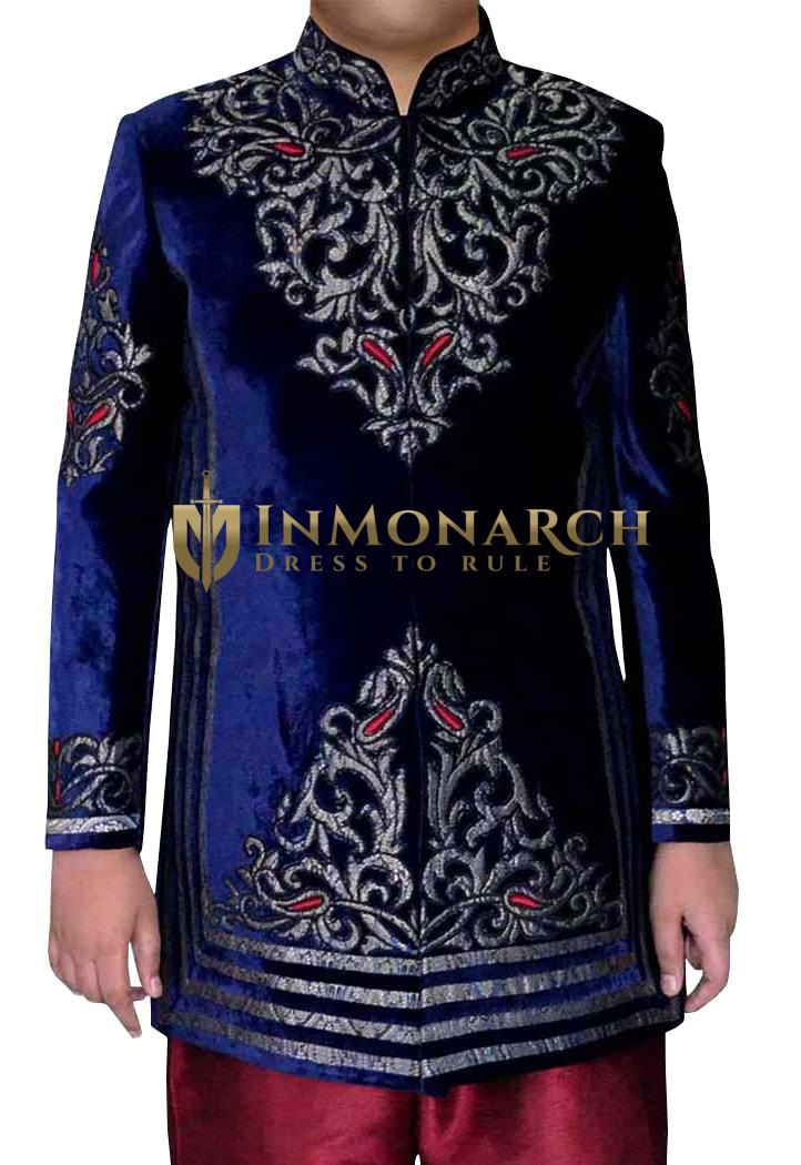 Mens Sherwani Navy blue Velvet Jodhpuri Indo Western Indian Wedding Clothes