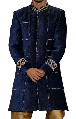Mens Navy blue 2 Pc Indo Western Party Wear