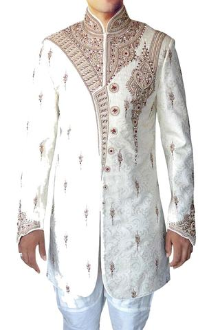 Sherwani for Men Wedding Cream Indo Western Sherwani Kurta