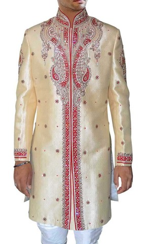 Mens Sherwani Beige Indo Western Royal Outfit Sherwani for Men Wedding