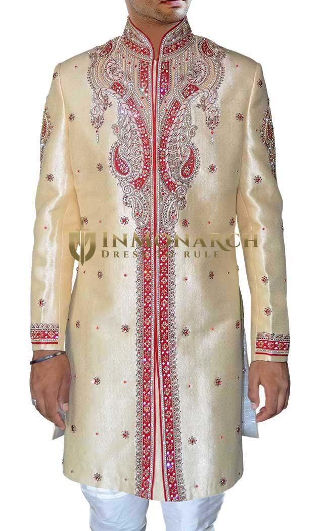 Mens Beige 2 Pc Indo Western Sherwani Royal Outfit