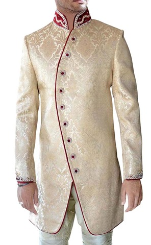 Mens Beige 2 Pc Indo Western Reception Maroon Piping