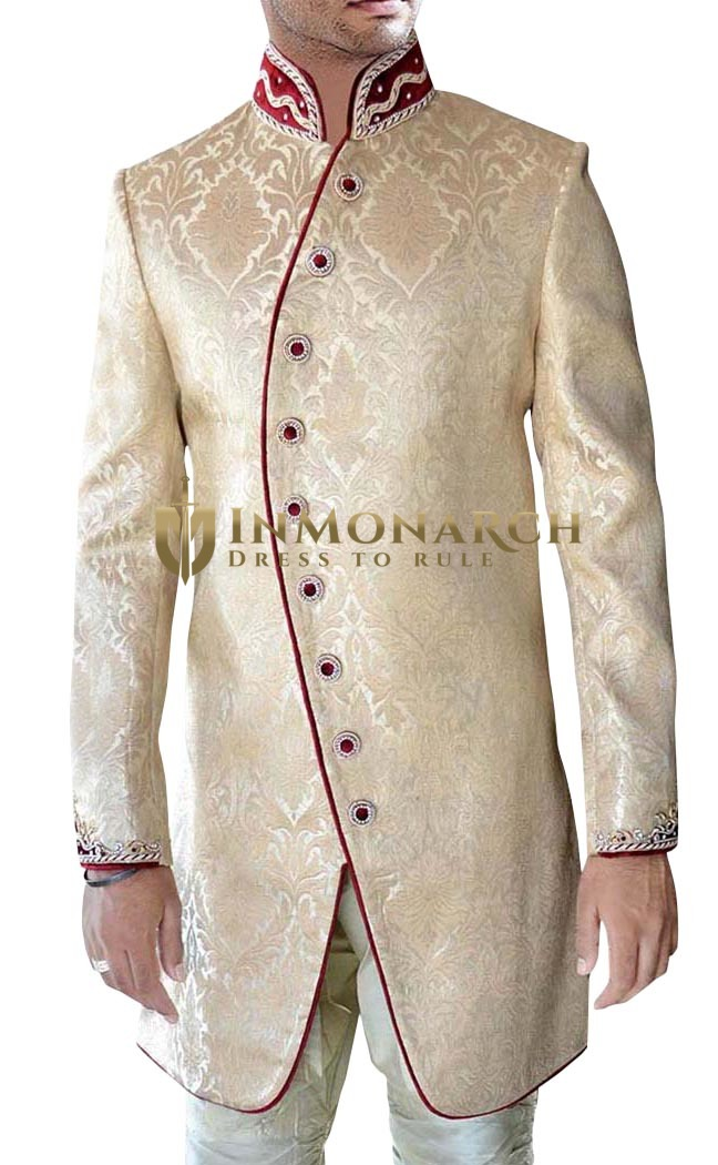 Sherwani for Men Wedding Beige Indo Western Reception Sherwani