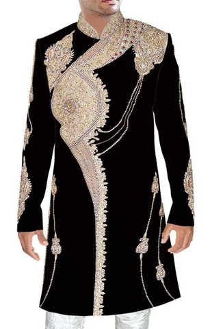 Sherwani Black Indo Western Sherwani Embroidered Sherwani for Men Wedding