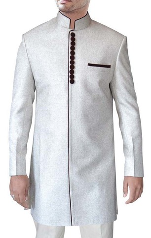 Mens White Jute 2 Pc Indo Western Traditional