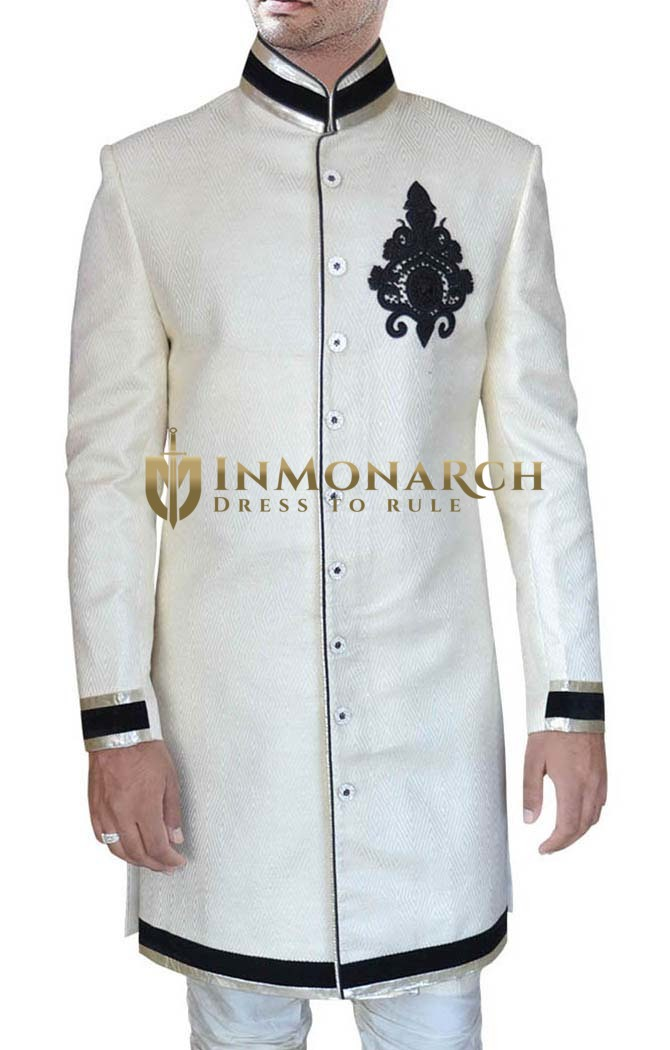 Mens Cream Jacquard 2 Pc Indo Western Bollywood