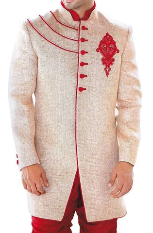 Indian Wedding Sherwani for Men Ivory Indo Western Sherwani Red Piping