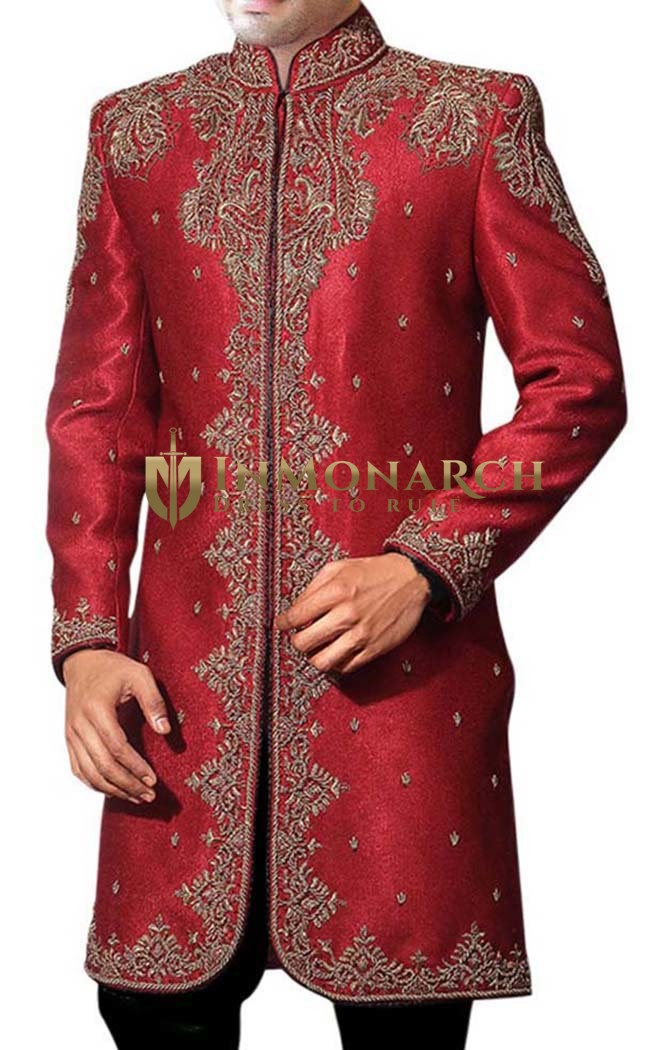 Mens Red Dupion 2 Pc Indo Western Traditional