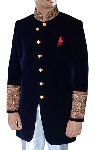 Mens Navy blue Velvet 3 Pc Indo Western Sherwani