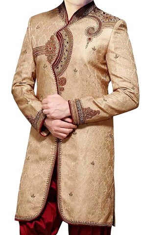 Mens Golden Brocade 2 Pc Indo Western Designer Work