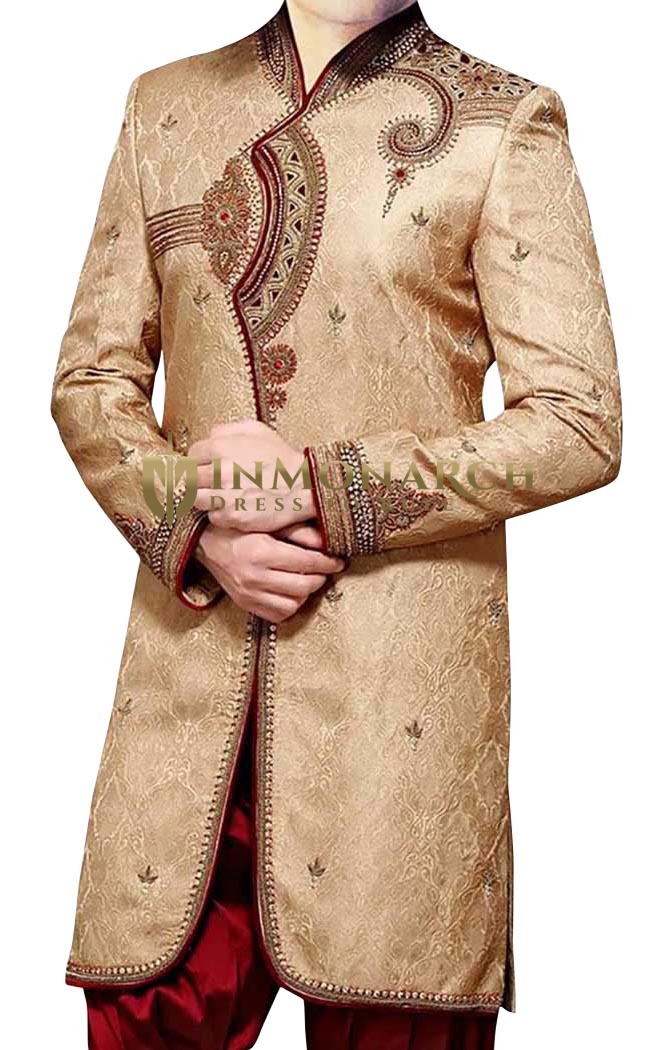 Indian Wedding for Men Golden Indo Western Designer Work Kurta for Jeans