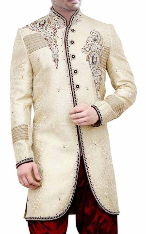 Mens Beige 2 Pc Indo Western Embroidered Prince Look