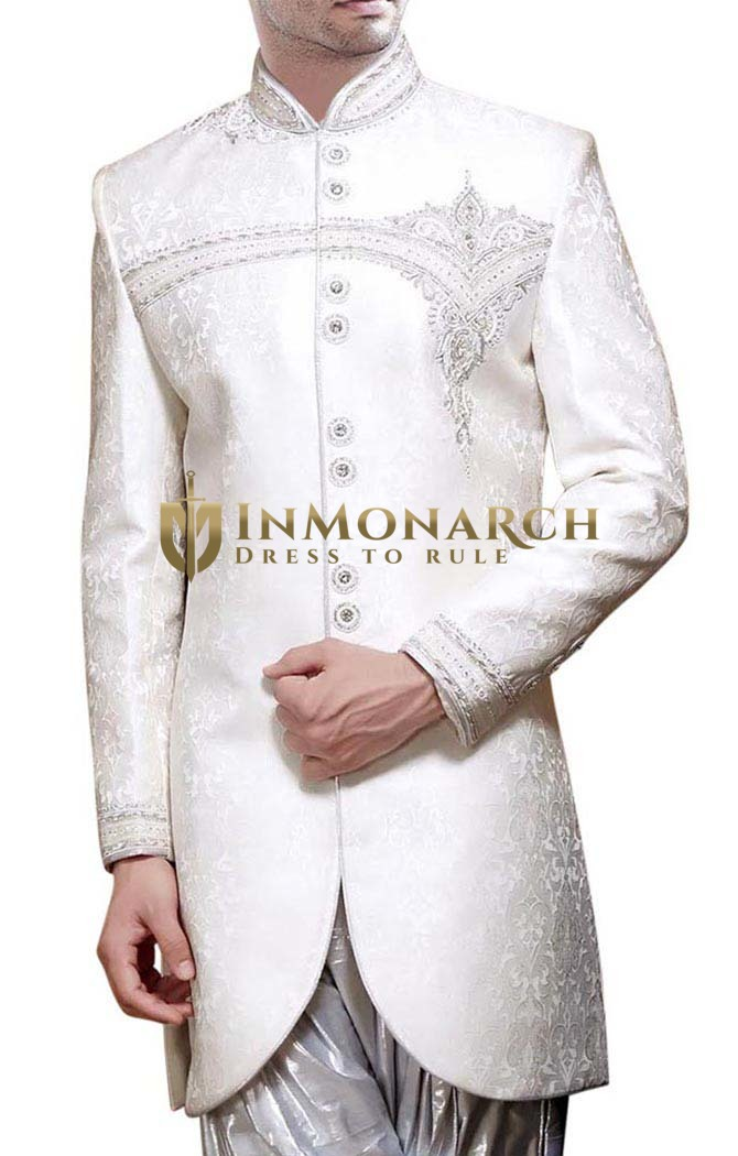 Wedding Sherwani White Indo Western Ethnic Embroidered Men Sherwani