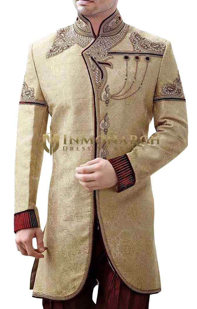 Mens Golden Brocade 2 Pc Indo Western Maroon Piping