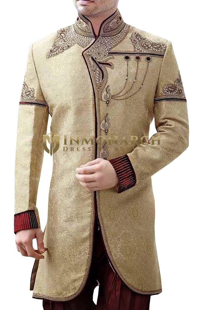 Mens Sherwani Golden Indo Western Sherwani Kurta