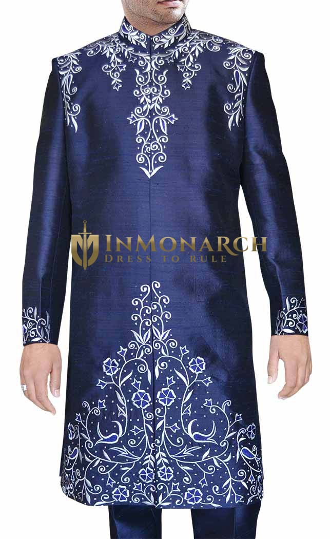 Mens Navy blue 2 Pc Indo Western White Embroidery