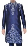 Mens Sherwani Navy blue Indo Western White Embroidery Indian Wedding Clothes