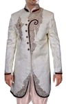 Mens Cream 2 Pc  Indo Western Velvet Trimming