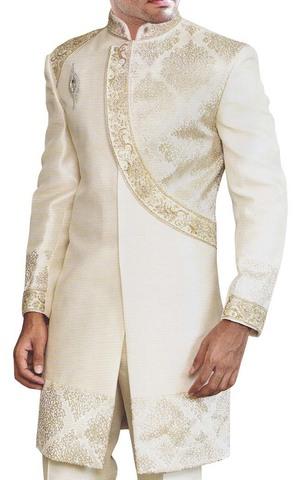 Mens Cream Jute 3 Pc Indo Western Angrakha Style