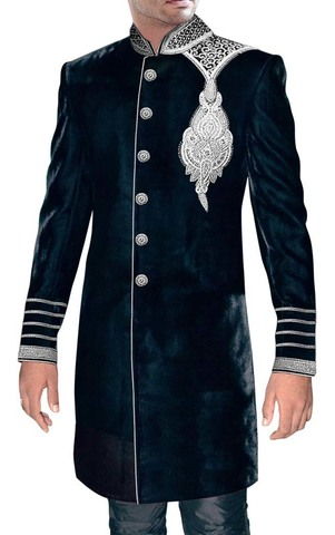 Mens Black Wedding Sherwani Velvet Indo Western Embroidered Sherwani