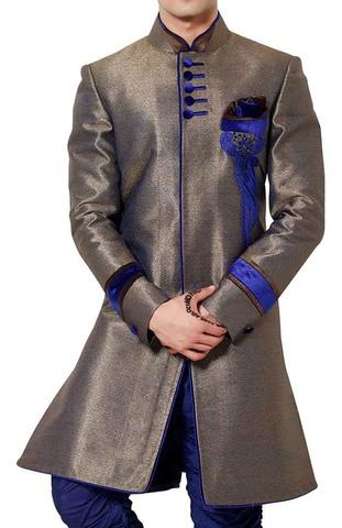 Mens Purple Gray Long Coat 3 Pc Indowestern Reception