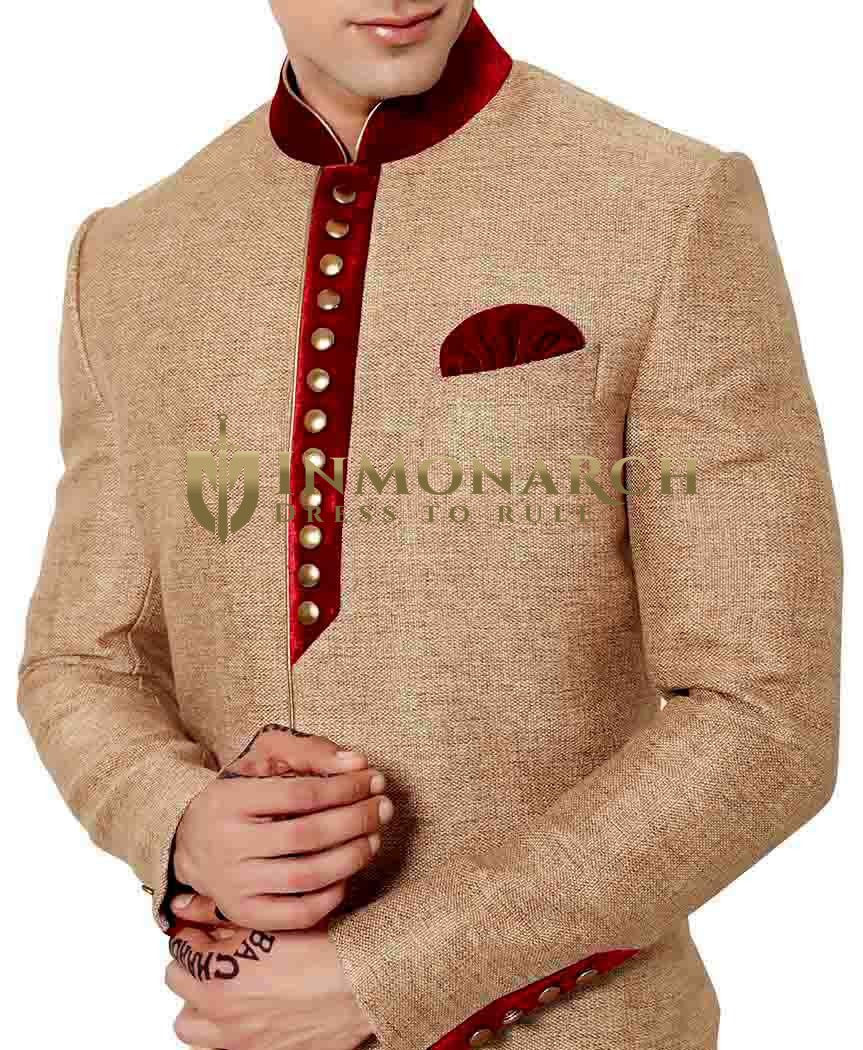 Mens Beige Jute 3 Pc Indo Western Red Velvet Patch