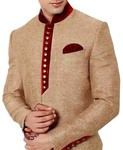 Mens Beige Sherwani Indo Western Red Patch kurta for jeans