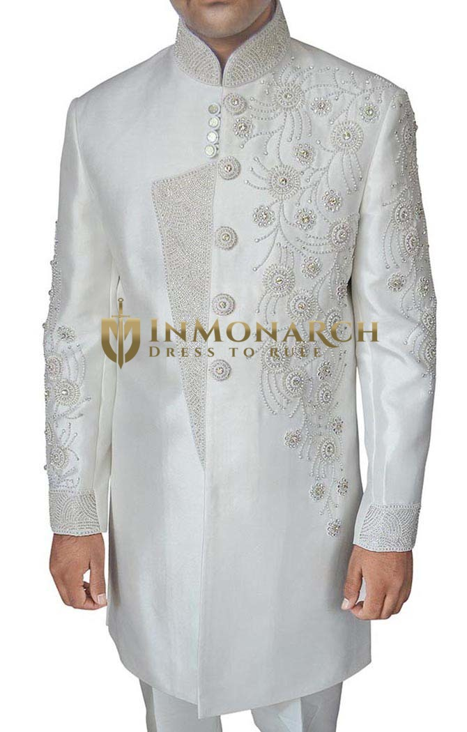 Mens White Indo Western Wedding Embroidered Indian Sherwani for Men