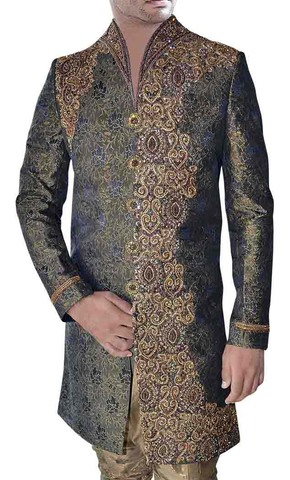 Mens Olive Green High Neck 2 Pc Indo Western Embroidered