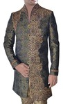 Mens Sherwani Olive Green High Neck Indo Western Embroidered Sherwani