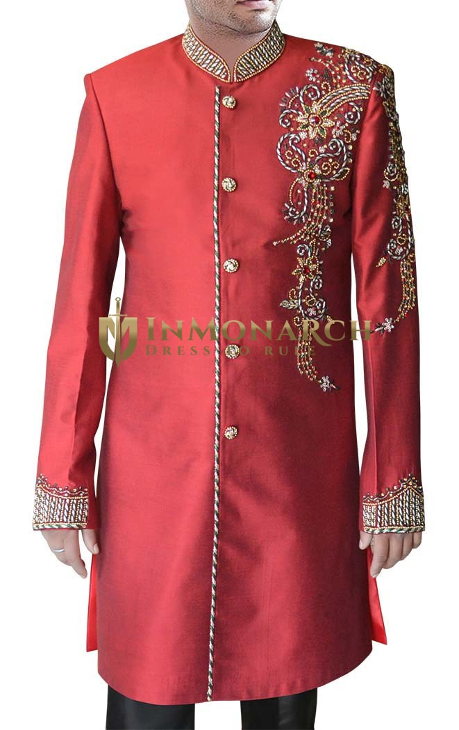 Mens Sherwani kurta Maroon Indowestern Thread Embroidered Indian Sherwani