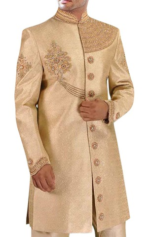 Mens Golden 2 Pc Indo Western Shahi Designer