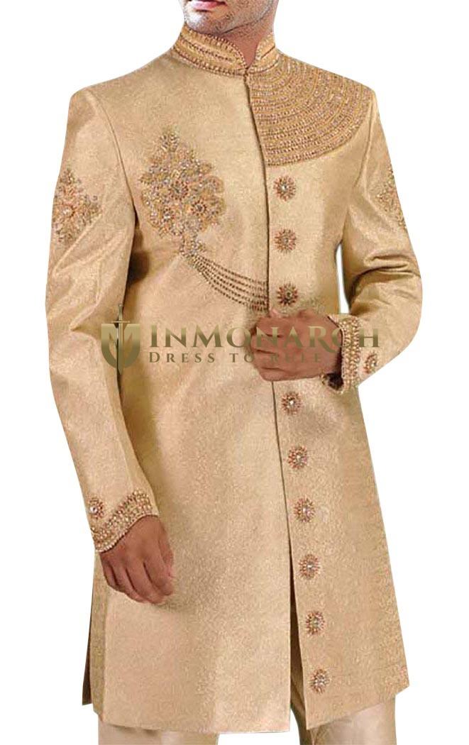 Mens Kurta for Jeans Golden Indo Western Shahi Designer Indian Wedding